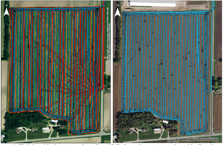 Figure 1. Global positioning system data of an alfalfa forage harvest operation with all equipment involved; merger path, chopper path, and six transport trucks (Left). Global positioning system data of forage harvester path only simulating controlled traffic within a harvest operation (Right).