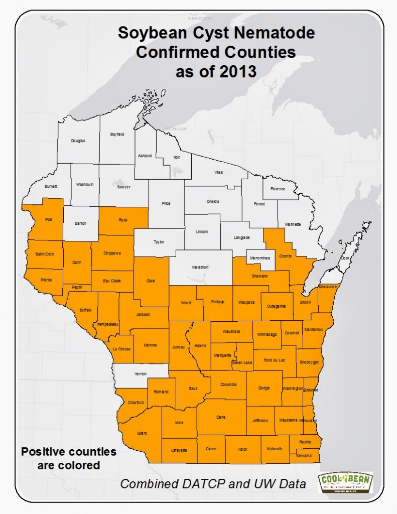 Figure 1. WI Counties Confirmed to Have SCN as of 2013.