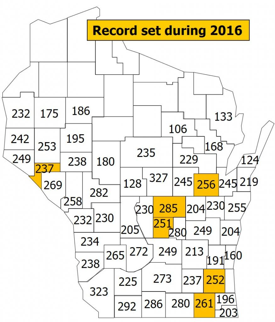 Wisconsin 2017 corn crop yield map
